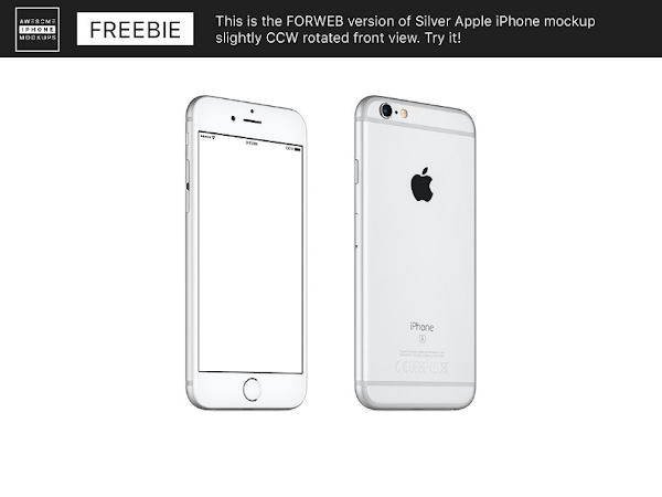 Download Awesome PSD Silver iPhone mockup Free