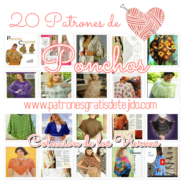 20 patrones de ponchos tejidos crochet y dos agujas