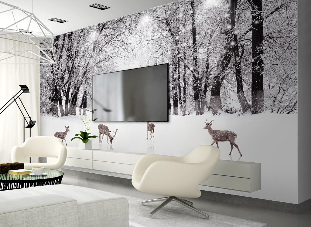 Tranh dán tường 3d hươu con phong cảnh rừng cây của nhật