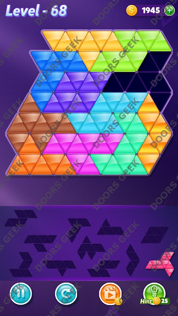 Block! Triangle Puzzle Challenger Level 68 Solution, Cheats, Walkthrough for Android, iPhone, iPad and iPod