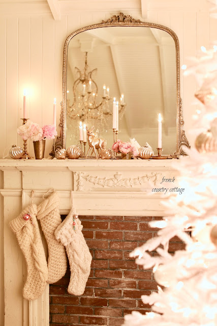 A vintage Inspired romantic Christmas mantel