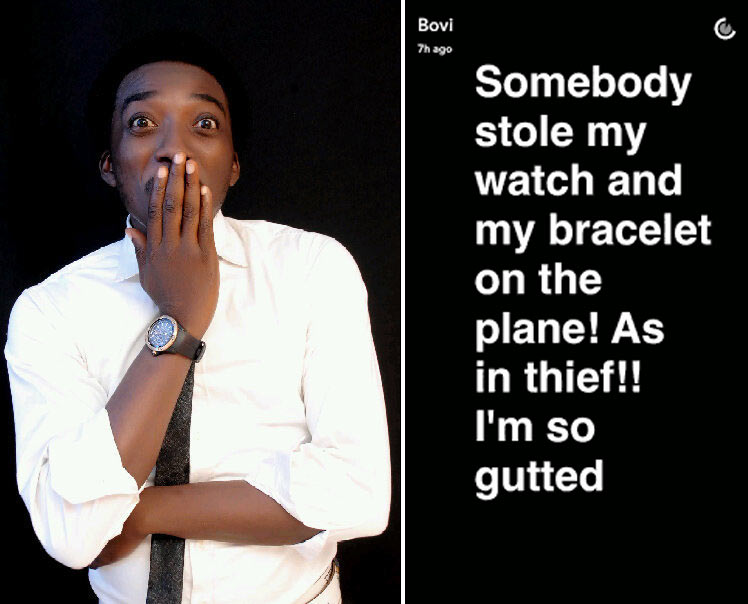 Comedian Bovi's wristwatch stolen on flight