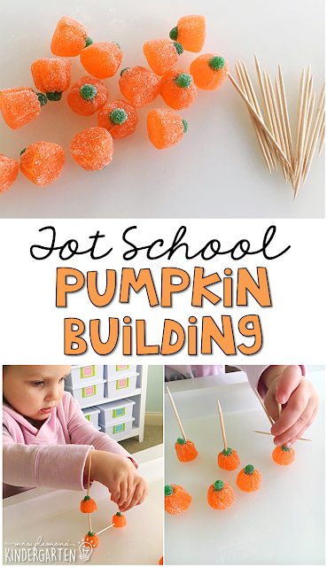 Pumpkin building is a fun way to practice fine motor skills with a Halloween theme. Great for tot school, preschool, or even kindergarten!