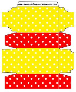 Cajas de Rojo, Amarillo y Lunares Blancos para imprimir gratis.