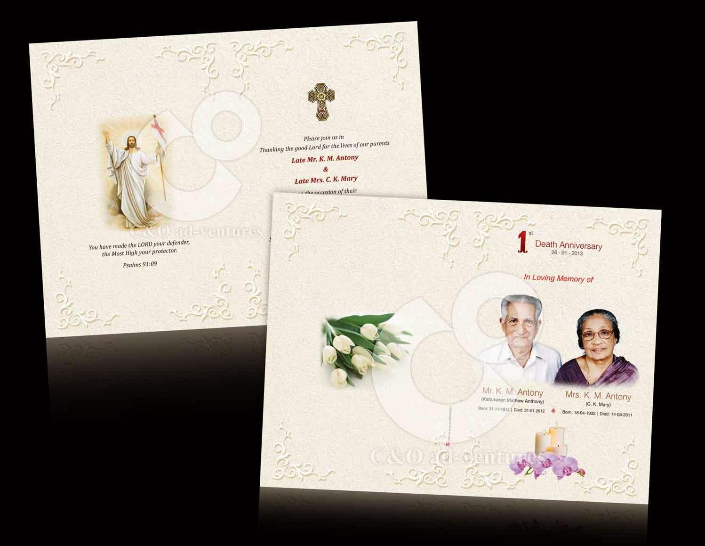 C O Ad Ventures Death Anniversary Invitation Card Design
