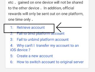klik retrieve account