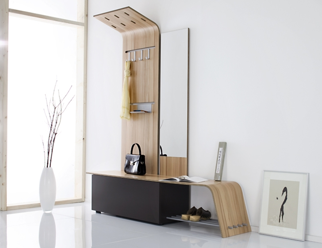 Contemporary wooden storage bench with mirror