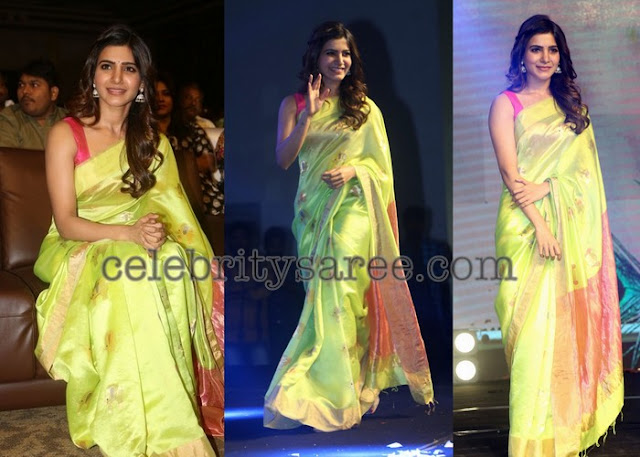 Samantha Akkineni Neon Green Saree