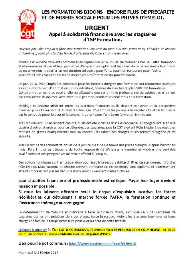 cgt chômeurs rebelles du morbihan : un emploi décent, un revenu ... - Formation Cuisine Pole Emploi