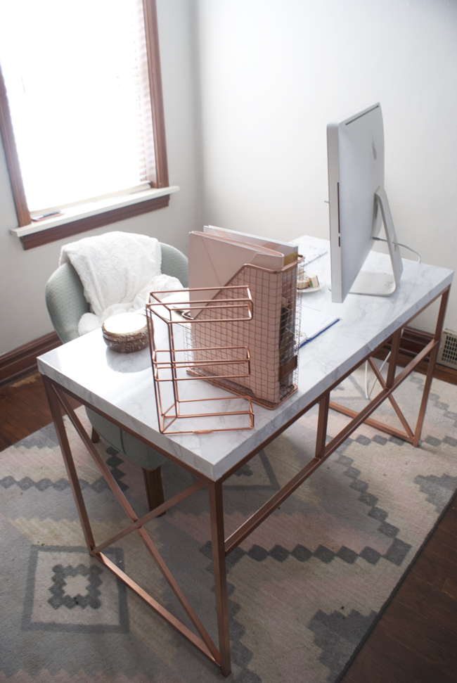 fox and gypsy: Rose Gold + Marble Desk DIY