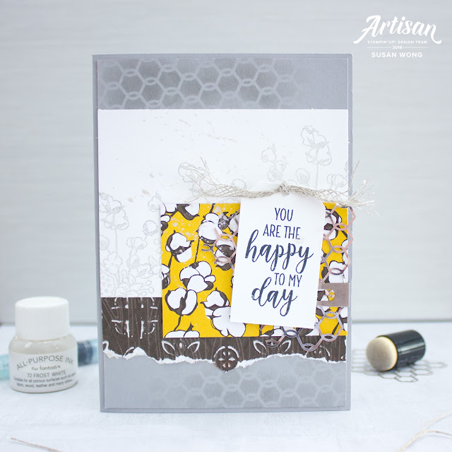 Country Home by Stampin' Up! card with Shimmer Paint - Susan Wong for Artisan Design Team