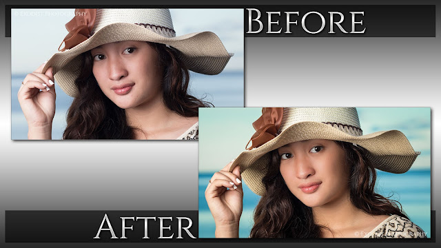 Early Morning Beach Flash Portrait Retouching - Before & After, © Exodist Photography, All Rights Reserved
