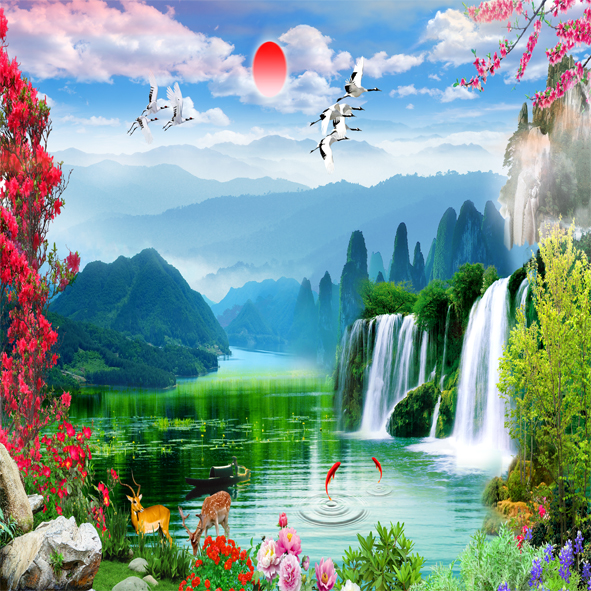Tranh Sông Hồ Thác Nước Phong cảnh đẹp.