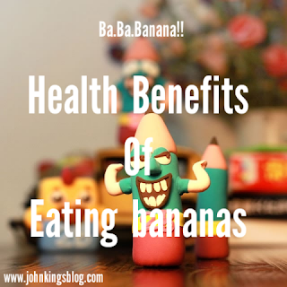 text of 'Health benefits of eating bananas' written in white on a pencil cartoon character background