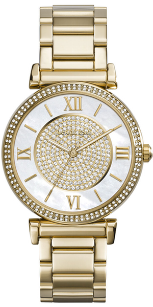 Michael Kors Caitlin Rhinestone Golden Stainless Steel Watch