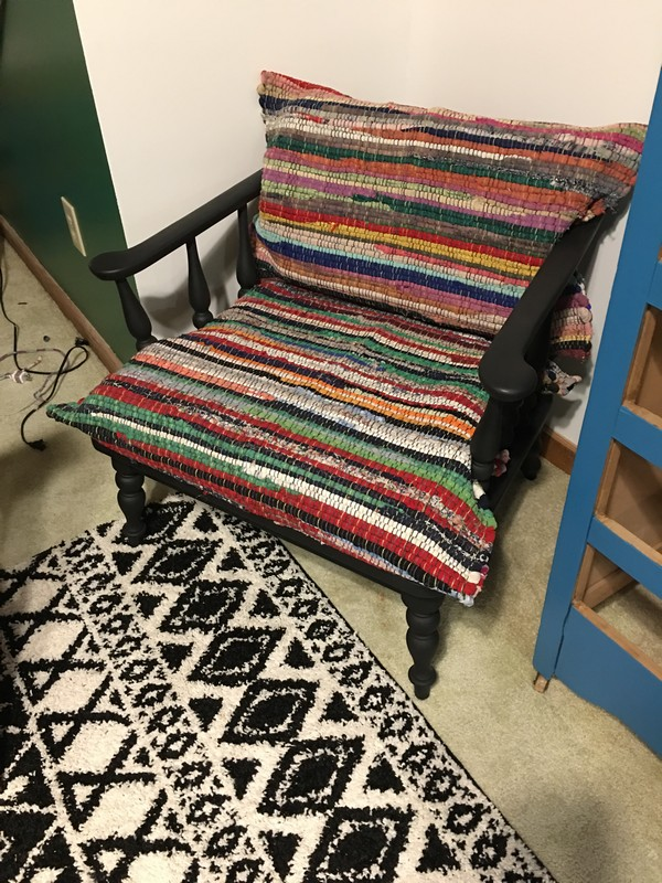 I Love The Texture This Rag Rug Recovered Chair Adds To Room And It Ties A Lot Of Otherwise Random Colors Together Very Easily