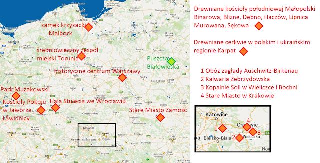 Mapa z zaznaczeniem polskich obiektów wpisanych na listę dziedzictwa UNESCO