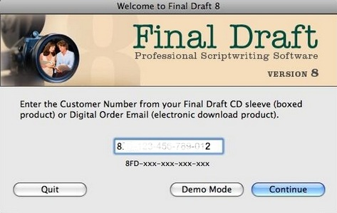 final draft customer number