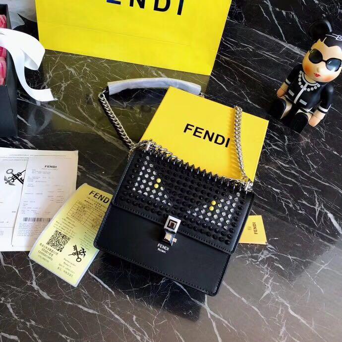 WE Do Love Luxury  FENDI Kan I Studded Leather Bag Chain Sling ... 4ca85de842