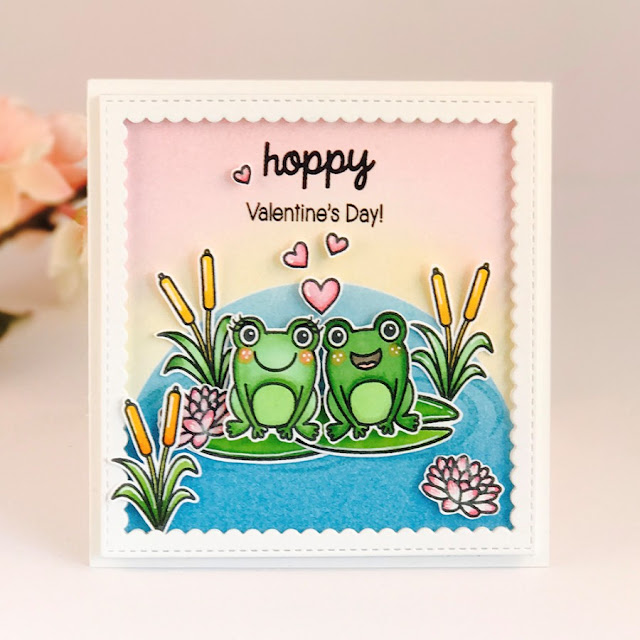 Sunny Studio Stamps: Froggy Friends Valentine's Day Frog Card by Amy Yang