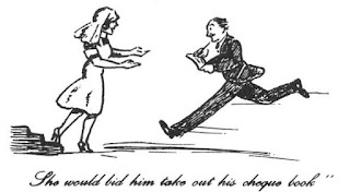 Cartoon titled: 'She would bid him take out his chequebook'. Shows an Adelaide Hospital nurse in profile descending a stairs with her arms  open in front of her. A well dressed man in a suit sprints towards apparently in the act of signing a cheque. This cartoon was made by an Adelaide Hospital doctor during the 1950s.