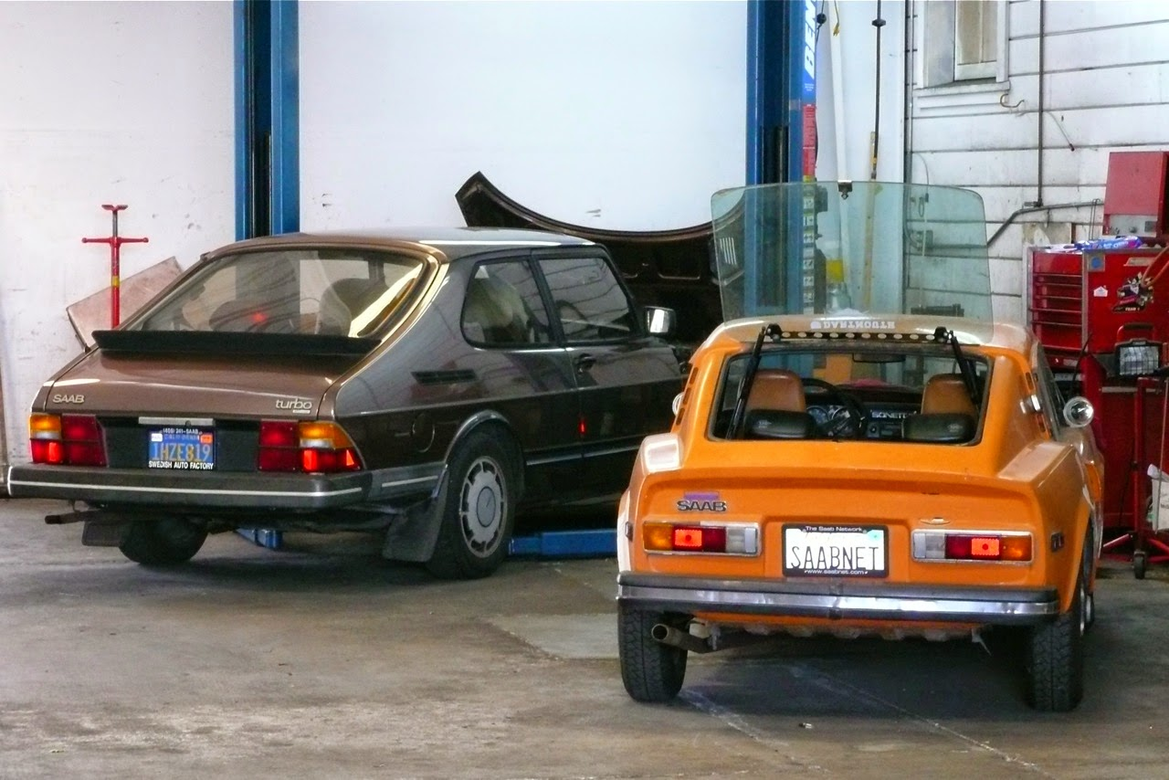 Scenes in a classic Saab shop