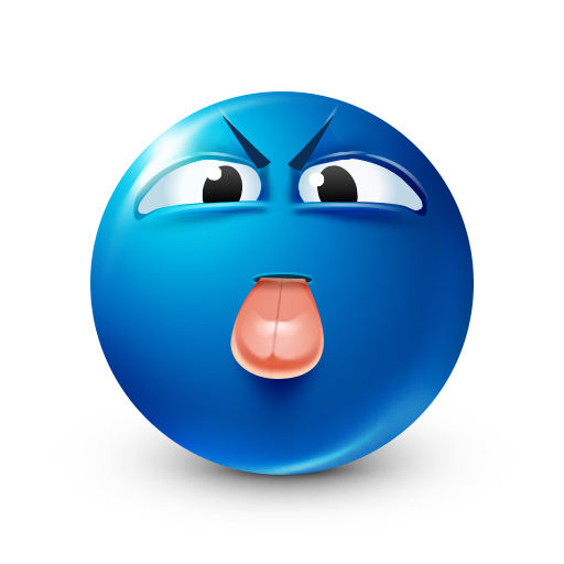 Tongue Out - Blue Smiley