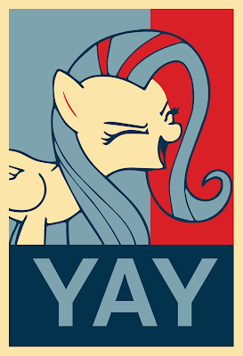Fluttershy Yay Poster by anthroxtra, Sep 2012. CC by-nc-nd 3.0