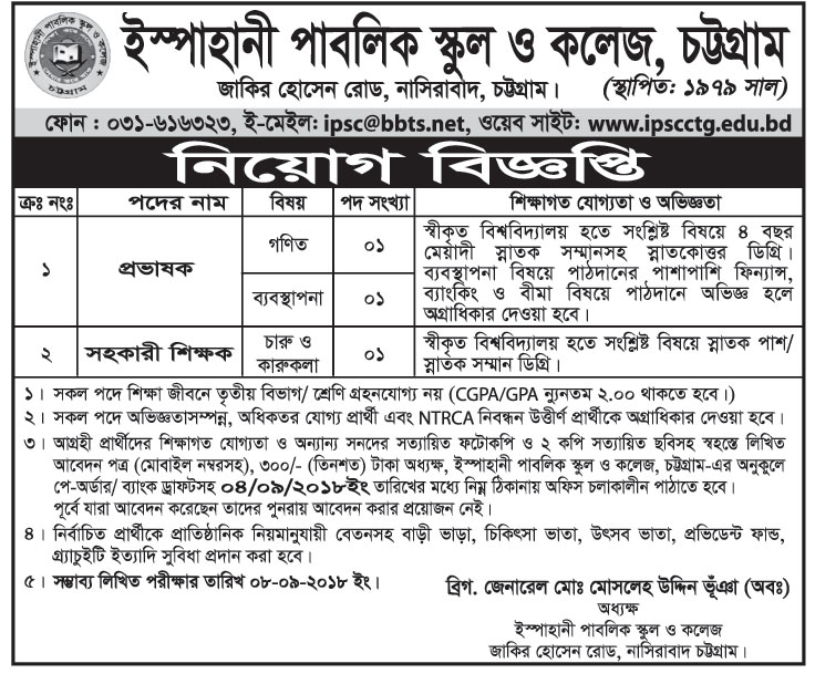 Ispahani Public School and College, Chittagong Lecturer Job Circular 2018