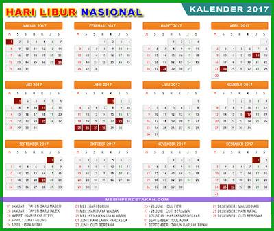 kalender 2017 indonesia libur nasional terbaru