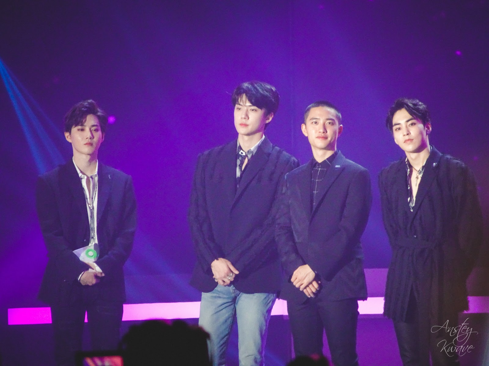 Famous Korean k-pop boy band EXO receiving award on stage at Melon Music Awards (MMA) 2017 in Seoul, South Korea