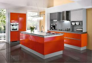 cocina color naranja plata