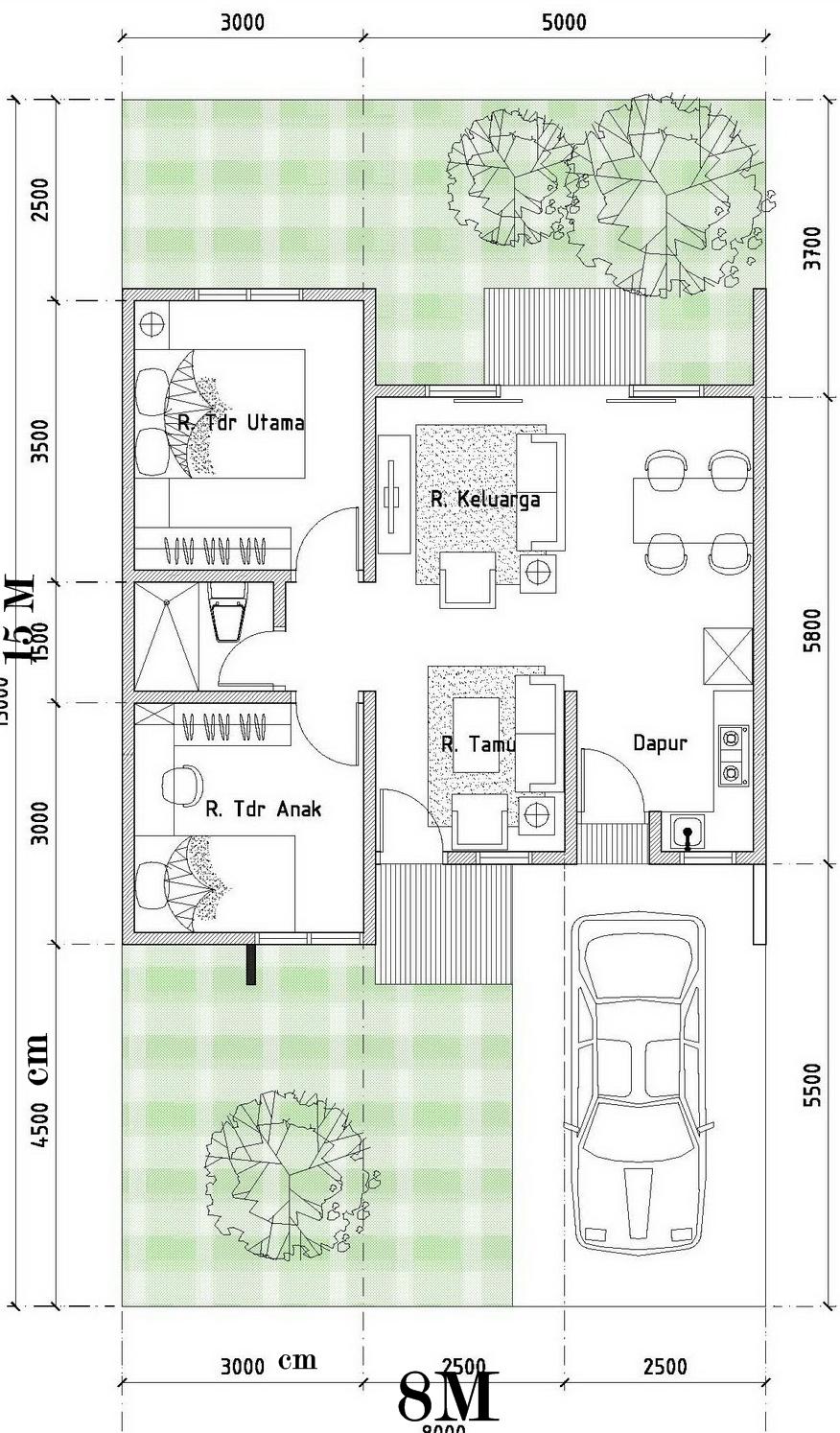 Contoh Denah & Desain Rumah minimalis type 54/120 | Desain ...