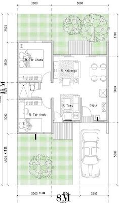 contoh denah & desain rumah minimalis type 54/120 | desain