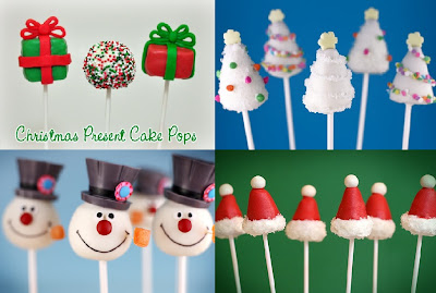 Christmas tree and snowman cake pops