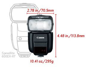 New Canon Speedlite 430EX III-RT Flash dimensions (Image Canon USA)
