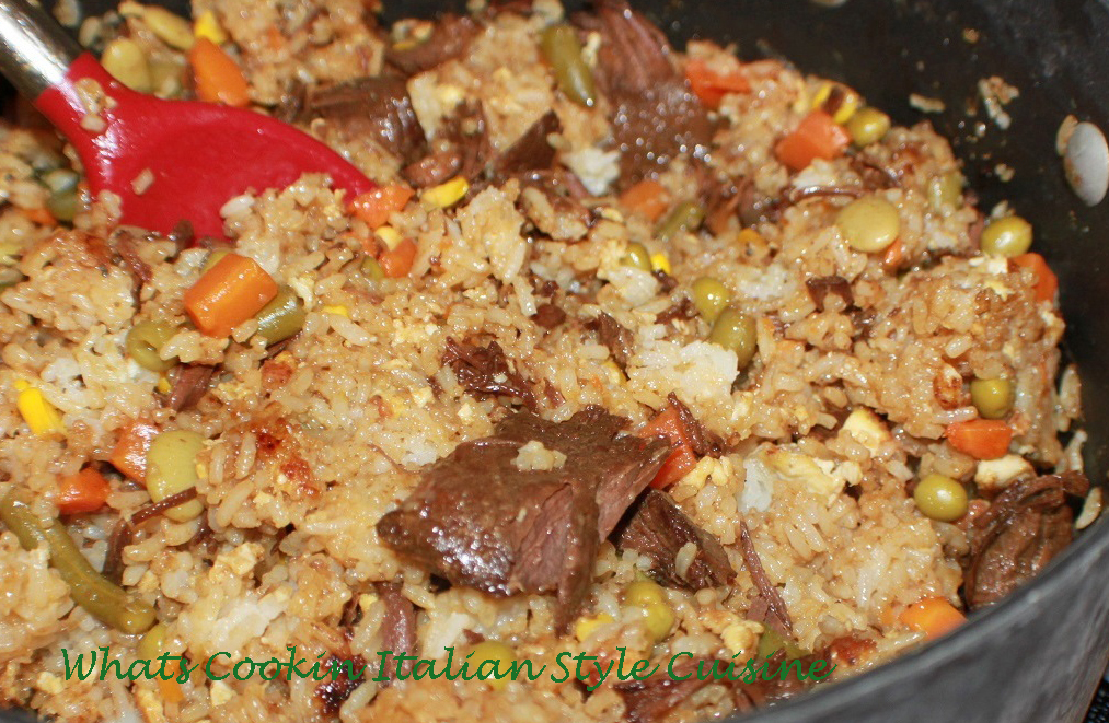 Venison deer meat with vegetables and fried rice