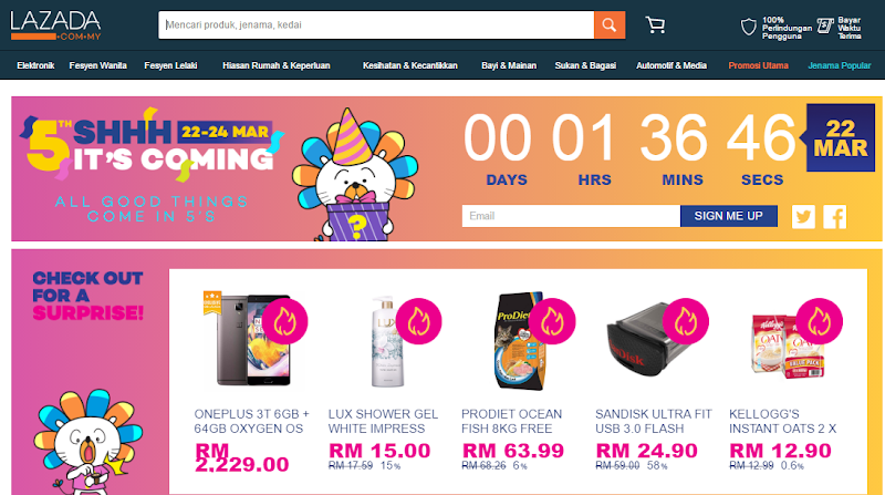 Lazada 5th Anniversary Sale [22-24 March]
