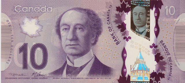 Canada Banknotes 10 Canadian Dollar Polymer Note 2013 Sir John A. Macdonald, the first Prime Minister of Canada