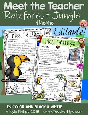 Meet the Teacher Editable Letter Template Tropical Rainforest Theme