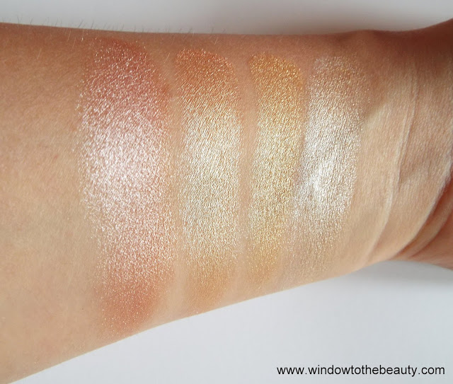 Revolution Face Quad highlighters swatches