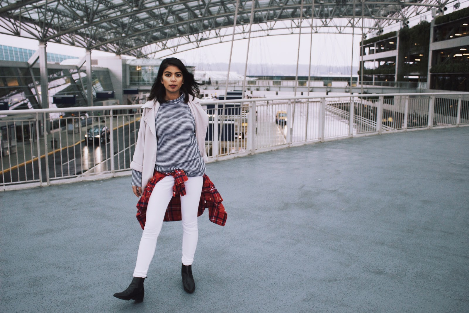 portland fashion blogger, pdx style blogger, oregon blogger, wiwt, fblogger, black and white striped long sleeve shirt, black ankle boots, white jeans, long gray trench coat, plaid shirt, ootd, airport style