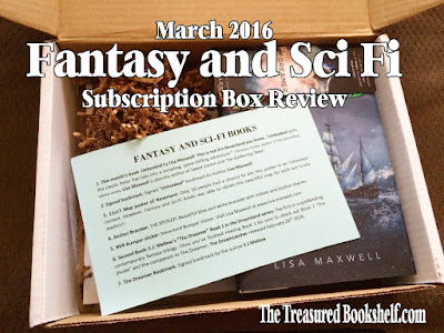 In my never ending attempt to run myself out of house and home by purchasing more and more books, I am sharing another subscription box review with you today.  The Fantasy and Sci Fi subscription box was a box that I subscribed to without much advance notice on what the box was about. Now usually, you won't know much about the theme of the box, but all I knew about the Fantasy and Sci Fi box that it contained fantasy and science fiction books and a bit of book fandom in the form of merchandise and fun products.  The website is very minimalistic with only a few pictures of past boxes.  But those boxes look pretty awesome. And I admit, I was not disappointed with the March 2016 Fantasy and Sci Fi Subscription box.