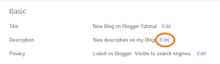 Add Blog Description Blogger