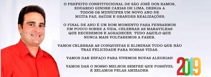 SÃO JOSÉ DOS RAMOS: Mensagem do Prefeito de São José dos Ramos, Eduardo Caxias.