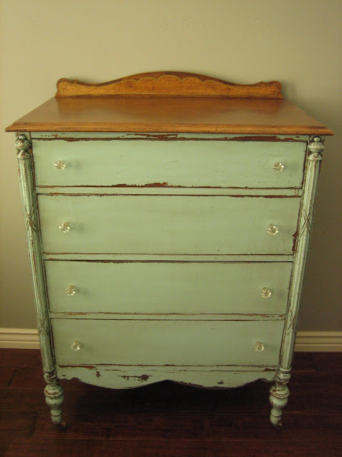 exciting white distressed painted furniture | European Paint Finishes: Cottage Green Dresser