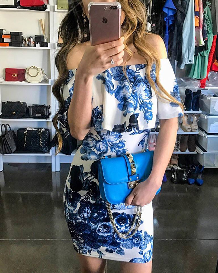floral off shoulder dress, kendra scott earrings, valentino lock bag, , must have date night dress, san francisco fashion blog, san francisco street style, date night dress ideas