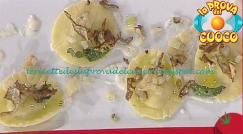 Tortelli di caprino e pistacchi con topinambur in tre consistenze ricetta Bottega da Prova del Cuoco