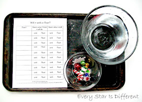 Christmas sink or float activity