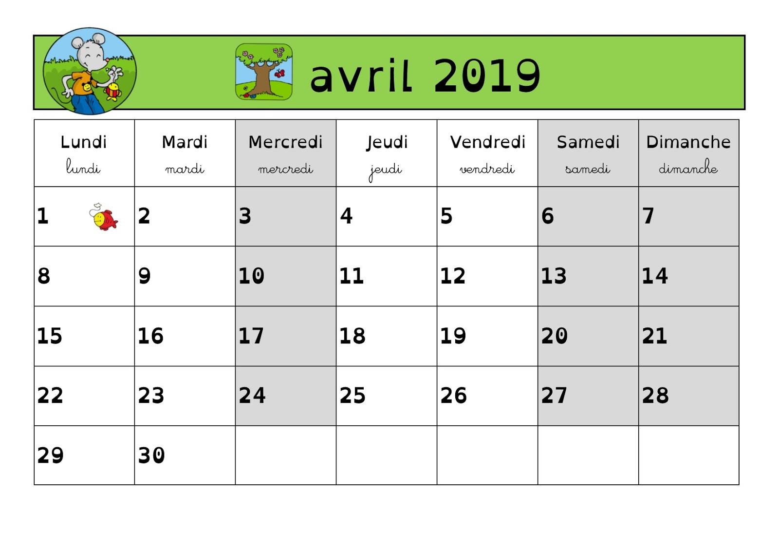 Calendrier De Mars 2019.En Classe Avec Ludo Calendrier 2018 2019 Periode 4 Mars Avril